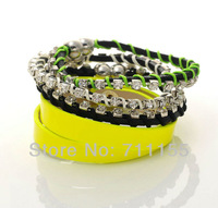 Mini.$10 Handmade Fashion Jewelry,Braid AAA Crystal Europe Wrap Pu Leather Bracelet,Fashion Jewelry Bracelet Bright Yellow Color