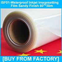 "High Density Polyester Clear Inkjet Waterproof Film Sandy Finish 60""*30m"