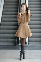 Hot-selling 2013 single breasted slim waist ruffle hem women's wool coat woolen outerwear 1270