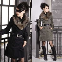 2013 winter coat fur collar cuff rib knitting push-up double breasted wadded jacket outerwear Free shipping