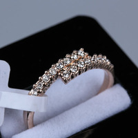 R069 Sale Promotion Valentine's day gift gold jewelry Rhinestone Dianty Rose Yellow Gold Plated Eternity Ring