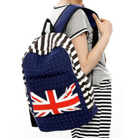 Free shipping Women Brief Canvas Casual Street Flag Printing Backpack