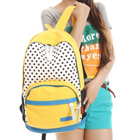 Free shipping Women Polka Dot Canvas Casual Travel Fashional Backpack