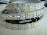 free shipping 5m/Roll,IP65 RGB+Warm white LED strip light double row 120leds/m Waterproof 4 channel dmx control