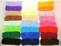 "2014 24 X 1.5"" crochet headbands Headwear baby Women girl Infants Toddlers Big Girls hair bow,24pcs/lot"
