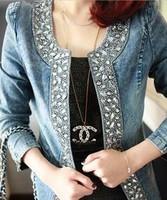 Free Shipping Fashion New Style Womens Denim Outerwear Slim Casual Diamond Decoration Jackets Size XL/2XL/3XL/4XL  YY8-580 #SH