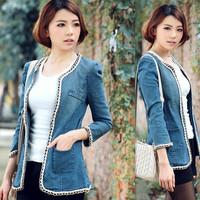 Free Shipping Newest Denim Jackets Plus Size Autumn Outerwear Slim  Cardigan Womens Jacket Size XL/2XL/3XL/4XL  YY8-581