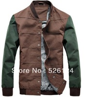 Free shipping,2013 new fashion spring&Autumn Men's regular mandarin collar jacket/coat,M-XXL ,two colors Top Quality!