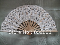100pcs folding Bamboo Fans Hot sale!Handcraft Asian Chinese Silk  with  flower  shape