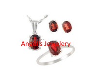 1pc Ems Free Shipping, Hotsale Natural Garnet Jewelery Set For Prom and Parties,3pcs Girl Jewelery Gift