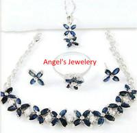 1pc EMS Free Shipping, Hotsale Natural Sapphire Jewelery Set, 5PCS Jewelery Set for Laies