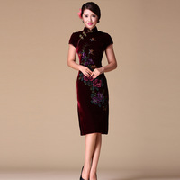2013 improved cheongsam elegant evening dress formal dress gold velvet peones short-sleeve cheongsam