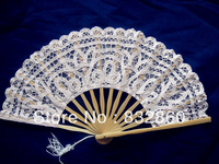 50pcs folding Bamboo Fans Hot sale!Handcraft Asian Chinese Silk  with  flower  shape