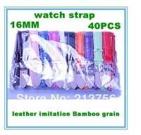 Wholesale 40Pcs/Lot 16MM Imitation Leather Watchband Band Watch Strap-10 Colors Avaliable