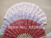 40pcs folding Bamboo Fans Hot sale!Handcraft   fan  with  flower  shape