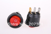5pcs x Red Light 3 Pin ON-OFF SPST Round Boat Rocker Switch 6A/250V 10A/125V AC