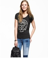 Free ship women's African tribal skull totem printingt shirt short sleeve 100%cotton t-shirt lady t shirts