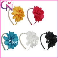 hot sale 30 pieces/lot high quality solid grosgrain ribbon flower hair band for baby girls  CNHB-1308082