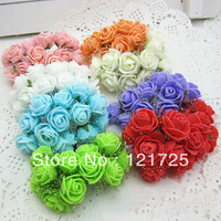 PE Flowers Snow Mesh Wrapping Handmade Small Rose Artificial Flowers Home Deco Iron Stem/8 Colours Mixed/96pcs/Lot Free Shipping