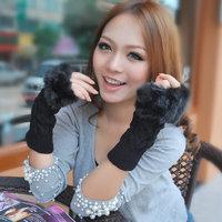 Free Shipping 1Pair/Lot Imitation Fur Crochet Wool Half Finger Female Autumn Winter Gloves Women Mittens