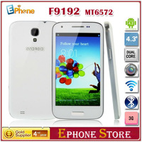 Promotion New 2013 F9192 mini s4 MTK6572 Dual Core Phone Android 4.2 512MB RAM 4GB ROM 4.3 Inch Dual Camera 3G Dual Sim Cards