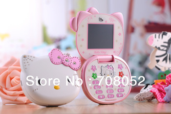 Cute Hello Kitty K688 Quad Band Dual Cameras Mobile Phone Unlocked Kids Children Cell Phone Flip MIni Full Keyboard cell phone