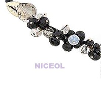 NI5L Fashion Hand Woven Hair Hoop Headband Beauty Glittery Plastic Crystal Black