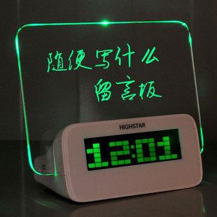 Alarm clock electronic mute alarm clock neon board message board alarm clock alarum pen lamp