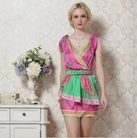 2013 new fashion sexy lady silk dress colourful beautiful 1305a04 free shipping