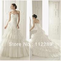 2014 Fashion Style White Sweetheart Layered Lace Chapel Train Open Back Mermaid Wedding Dress HZ3298