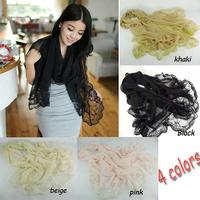 185*90cm Women's lace hemming Shawl Silk Voile Chiffon Scarf  Pashmina