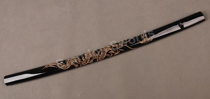Salamander D. Black Samurai-Sword-Japanese-Katana-Wooden-Engraved-Dragon-Saya-Sheath-Scabbard-SYQ27