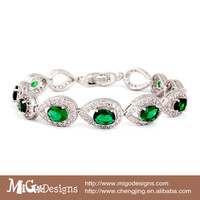 Migodesigns 2014 new arrival luxury emerald green Jewelry top quality 18k gold AAA zircon emerald bracelet