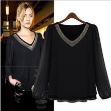 popular black beaded blouse