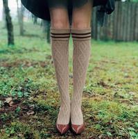 2 Colors Cotton Cute Girl Knee Socks Thigh High Long Knit Stockings Thinner sock
