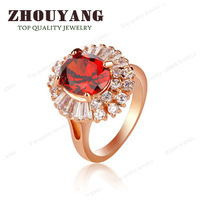 ZYR192 Red Crystal  Ring 18K Champagne Gold Plated Made with Genuine Austrian Crystals Full Sizes Wholesale