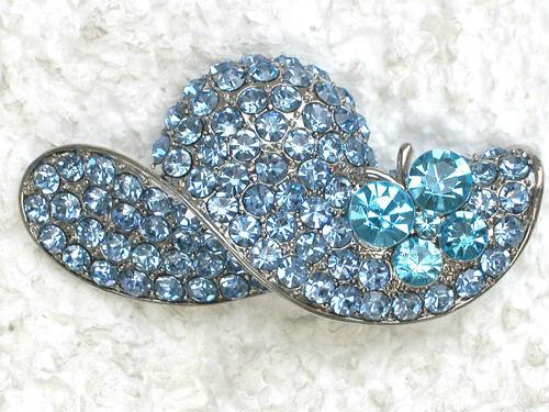 12 pcs jewelry gift Aquamarine Rhinestone brooch,Fashion Costume Brooch,Crystal Butterfly Sun Hat Brooch pin C971(China (Mainland))