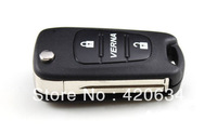 High Quality 2 Buttons Car Folding Flip Remote Key Shell Case Replacement for Hyundai Verna + HK Post Free Shippping