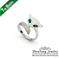 ZYR195 Fox Crystal Ring 18K Platinum Plated Made with Genuine Austrian Crystals Full Sizes Wholesale