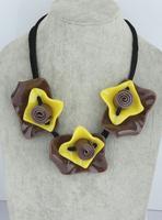 Marni fashion rose flower necklace female short design 3 rose resin fashion accessories