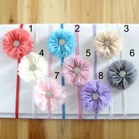 20Pcs/Lot Free Shipping Baby chiffon shabby flower Hairbands with rhinestone infant flower headbands Christmas gift headwear