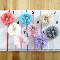 20Pcs/Lot Free Shipping Baby chiffon shabby flower Hairbands with rhinestone infant flower headbands Christmas gift headwear