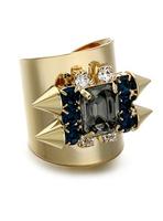 Vintage hollywood gem rivet ring female punk decoration