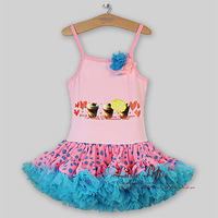 2014 New Arrival Christmas Bubble TUTU Dress With Cake And Flower Blue Bubble Dress Kids Fashion For Girl Dance Dress  Wholesale