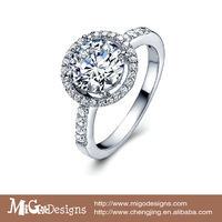 Migodesigns 18K Gold Hearts & Arrows Ideal Cut Cubic Zirconia Diamond Halo Engagement Ring For Women