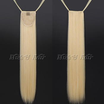 110g 60cm Light gold Long straight clip in hair extensions synthetic ribbon drawstring ponytail Thick hair
