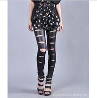 2015 Spring fashion faux leather hole leggings punk ankle length trousers womenthin slim matt legging