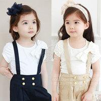 2013 summer elegant bow girls clothing baby child short-sleeve T-shirt tx-1715