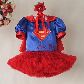 2014 New Fashion Halloween Supergirl Wrape Dress Hot TUTU Dress Bubble Party  Dress Children Fashion Free Shipping Wholesale
