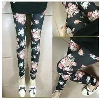 Fashionable casual street high elastic seamless leggings printed flower rose ankle length slim trousers
